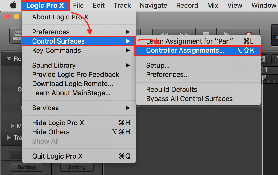 logic pro 9 controller assignments